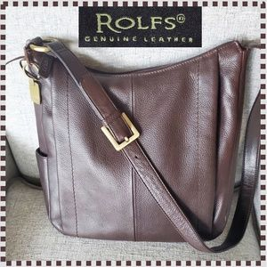 Rolfs Brown Pebble Leather Shoulder Purse Bag